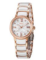 Mulheres Relógio de Moda Bracele Relógio Quartzo Impermeável Lega Cerâmica Banda Branco Prata Dourada