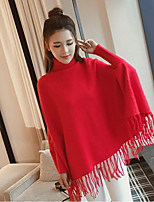 Women's Going out Casual/Daily Work Sophisticated Regular Pullover,Solid High Neck Long Sleeve Polyester Spring Thick Micro-elastic