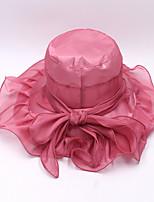 Для женщин Шапки Цветы Панама Широкополая шляпа Шляпа от солнца,Весна/осень Лето Органза Однотонный Разные цвета