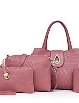 Women Bags All Seasons PU Bag Set with for Casual Blue Black Red Blushing Pink Purple