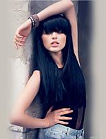 Romantic Beautiful  Black Long Hair Straight  Human Hair Wigs
