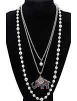 Pendant Necklace Elephant Euramerican Luxury Pearl Rhinestone Multicolor Multi-Layer Women  Layered Pendant Strands Necklaces Party Movie Gift Jewelry