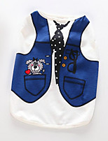 Dog Vest Dog Clothes Casual/Daily British Light Blue Dark Blue