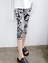 Feminino Vintage Cintura Média Elástico Justas/Skinny Calças,Delgado Estampado