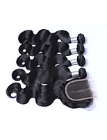 Short Size 100% Unprocessed 4pcs 400g Body Wave Brazilian Remy Human Hair Wefts with 1Pcs 4x4 Lace Top Closures Natural Black Human Hair Extensions