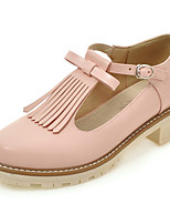 Women's Shoes Heels Comfort Leatherette Spring Fall Casual Party & Evening Dress Comfort Buckle Tassel Chunky HeelBlushing Pink Beige Black
