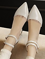 Women's Heels Basic Pump Cowhide Summer Casual Basic Pump Chunky Heel Black Beige Blushing Pink 1in-1 3/4in