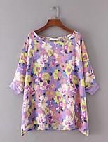 Feminino Blusa Para Noite Casual Sensual Simples Moda de Rua Verão,Floral Estampado Seda Algodão Poliéster Decote Redondo Meia MangaFina