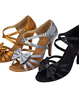 Women's Latin Silk Sandals Performance Bow(s) Stiletto Heel Khaki Gray Black 3