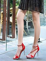 Da donna Tacchi Con cinghia PU (Poliuretano) Primavera Casual Con cinghia Nero Rosso Tessuto almond 7,5 - 9,5 cm