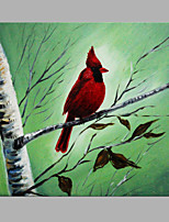 IARTS® Hand Painted Modern Abstract Autumn Red Bird on the Branch Oil Painting On Canvas with Stretched Frame Wall Art For Home Decoration