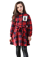 Girl's Plaid/Check Dress,Cotton All Seasons Long Sleeve