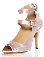 Women's Latin Satin Heels Indoor Stiletto Heel Nude 3