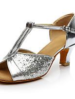 Women's Latin Paillette Heels Sneakers Performance Paillettes Cuban Heel Silver Customizable