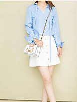 Women's Daily Casual Casual Spring Summer Shirt Skirt Suits,Striped Color Block Shirt Collar Long Sleeve Micro-elastic