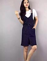 Для женщин Повседневные Лето Как у футболки Платья Костюмы Круглый вырез,Простой Однотонный С короткими рукавами Слабоэластичная