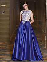 A-Line Jewel Neck Sweep / Brush Train Satin Tulle Mikado Formal Evening Dress with Beading Lace Bandage by