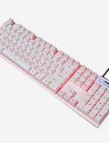 Ajazz 103Keys Tea Shaft USB Backlit Game Keyboard Black And White With 160CM Cable