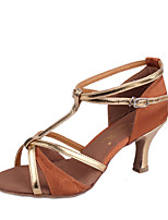 Non Customizable Women's Latin Paillette Sandals Indoor Flared Heel Brown Silver Black Gold