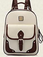 Women Shoulder Bag PU Canvas All Seasons Casual Outdoor Circle Zipper Black White