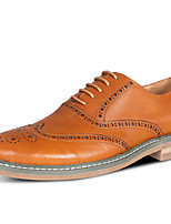Men's Wedding Shoes Formal Shoes Cowhide Leather Spring Fall Casual Office & Career Formal Shoes Brown Black Flat