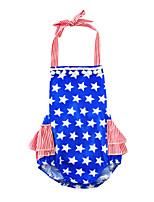 Baby Print One-PiecesCotton Blends Summer Sleeveless Star Hanging Neck Baby Girls Romper Bodysuits