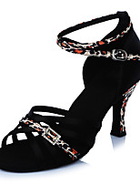 2017 Classic Brand Modern Latin Sandals Customizable Women's Dance Shoes  Heeled shoes Satin Black/Leopard