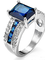 Ring Women's Euramerican Luxury Elegant Square Rhinestone Zircon Ring Daily Movie Party Gift Jewelry