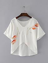 Tee-shirt Femme,Fleur Sortie Décontracté / Quotidien Sexy simple Chic de Rue Eté Manches Courtes Col Arrondi Coton Fin Moyen