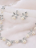 Women's Necklace/Earrings Imitation Pearl Rhinestone Flower Style Imitation Pearl Simple Style Imitation Pearl Rhinestone Plating Alloy