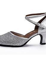Non Customizable Women's Dance Shoes Sparkling Glitter Paillette Sparkling Glitter Paillette Latin Sandals Stiletto HeelPractice Beginner