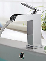 Modern/Comtemporary Waterfall with  Ceramic Valve Single Handle One Hole for  Chrome  Bathroom Sink Faucet
