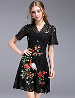 DFFD Women's Party Going out Vintage Street chic A Line Sheath DressEmbroidered V Neck Above Knee Short Sleeve Cotton Polyester Others Summer