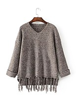 Normal Pullover Femme Sortie Décontracté / Quotidien simple Chic de Rue,Couleur Pleine Col en V Manches Longues AcryliquePrintemps