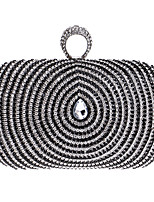 Women Evening Bag Polyester All Seasons Wedding Event/Party Formal Minaudiere Rhinestone Clasp Lock Black Gold