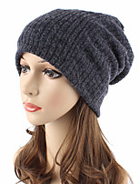 Unisex Cotton Wool Beanie Floppy Hat Headwear Cute Casual Chic & Modern Casual/Daily Knitwear Solid Fall Winter Pure Color Cap Navy Blue/Grey