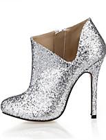 Femme Chaussures à Talons Botillons Synthétique Printemps Automne Mariage Habillé Soirée & Evénement Botillons Argent 10 à 12 cm