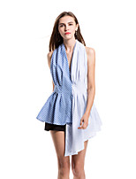SHE'SWomen's Daily Casual Sexy Simple Street chic Summer ShirtStriped Stripe V Neck Sleeveless Polyester Thin