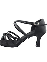 Women's Latin Silk Sandals Indoor Flared Heel Brown Black