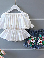 Girls' Floral Sets,Cotton Blend Summer Short Sleeve Clothing Set