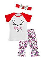 Girls' Animal Floral Print SetsCotton Blends Spring/Fall Summer Short Sleeve Clothing Set Hello Deer      T Shirt Pants with Headband 3pcs Kids Suits