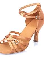 Damen Latin Satin Sandalen Absätze Innen Verschlussschnalle Rattan Stöckelabsatz Kamel 5 - 6,8 cm Maßfertigung