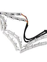 2pcs Double Color Crystal Eyes LED Daytime Running Light DRL Turn Signals External Lights Waterproof Flexible DC12V