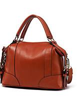 Women Shoulder Bag Cowhide All Seasons Casual Outdoor Round Zipper Brown Black