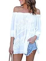 Women's Casual/Daily Club Holiday Sexy Simple Street chic Spring Fall T-shirtPatchwork Lace Slim Boat Neck  Sleeve Off-the-shoulder Medium