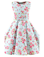 Girl's Mint Floral Vintage Inspired Sleeveless 50s Rockabilly Swing Dress Cotton All Seasons Sleeveless