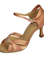 Для женщин Латина Дерматин Сандалии Кроссовки Профессиональный стиль С пряжкой На низком каблуке Коричневый Миндальный 5 - 6,8 см