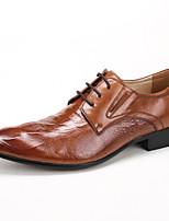 Для мужчин Свадебная обувь Формальная обувь Кожа Весна Осень Свадьба Для вечеринки / ужина Формальная обувь Черный Коричневый ВиноМенее