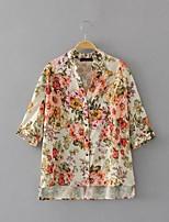 Для женщин На выход На каждый день Лето Блуза V-образный вырез,Простое Цветочный принт Рукав 3/4,Шёлк,Тонкая Средняя