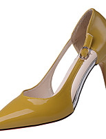 Da donna Sandali Comoda Vernice Estate Casual Footing Comoda Fibbia A stiletto Nero Beige Giallo Marrone 7,5 - 9,5 cm